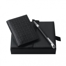 Zestaw Ungaro wizytownik + długopis seria Uuuu Homme, kolor czarny