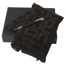 Zestaw Ungaro szal + długopis seria Uuuu Homme, kolor czarny