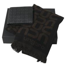 Zestaw Ungaro szal + portfel seria Uuuu Homme, kolor czarny