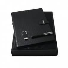 Zestaw Ungaro pendrive + notatnik A4 + pióro kulkowe seria Uuuu Homme, kolor czarny