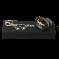 Zestaw Ungaro zegarek Sienna Black-Gold + brelok Alba, kolor czarny