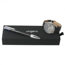 Zestaw Ungaro zegarek Lapo + długopis Lapo, kolor czarny